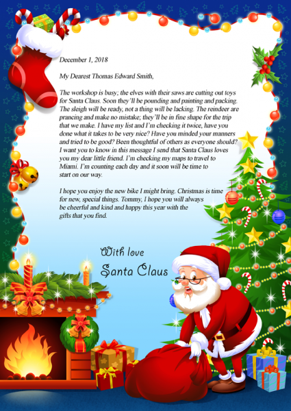 letter from santa claus virginias personalized books